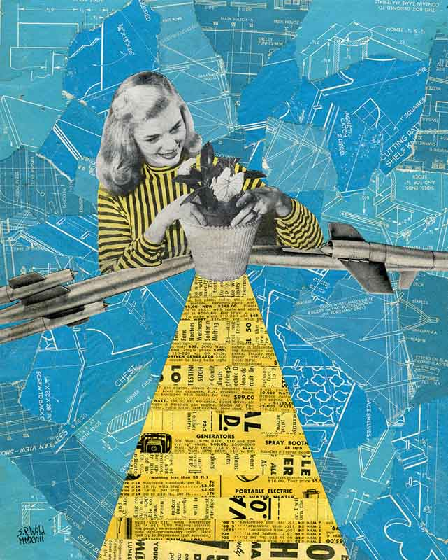 Woman in a yellow and black vertical striped sweater putting a flower in a pot with her elbows on rockets. A large trapezoid of yellow strips from magazine clippings is coming out of the flower pot's base. Background is torn pieces of blueprints.