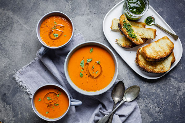 Classic Roasted Tomato And Sweet Pepper Soup With Swedish Poppy Seed Bread