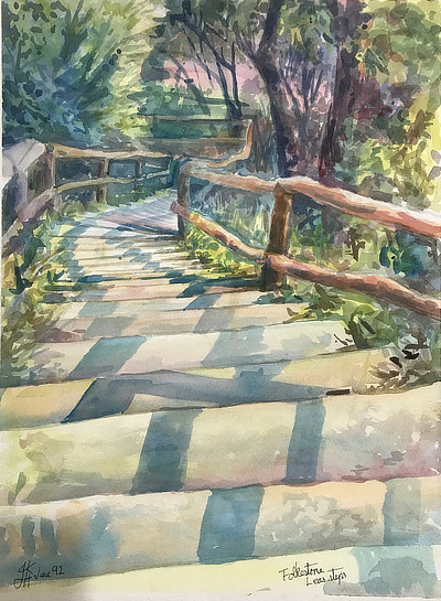 watercolour painting of view down sun-dappled steps