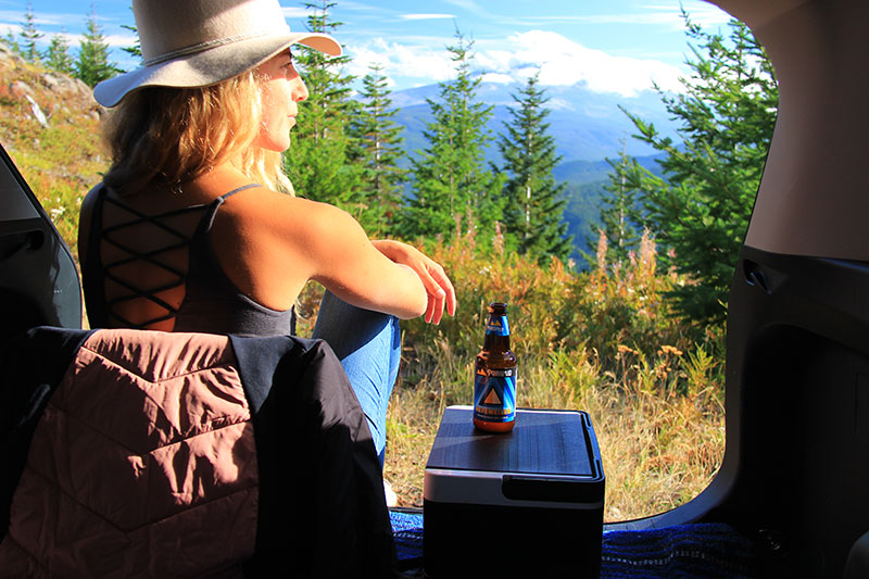 Views of Mount Hood while drinking Pyramid Hefeweizen