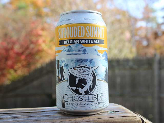 Shrouded Summit, a Gluten-Free Belgian White Ale brewed by Ghostfish Brewing Company