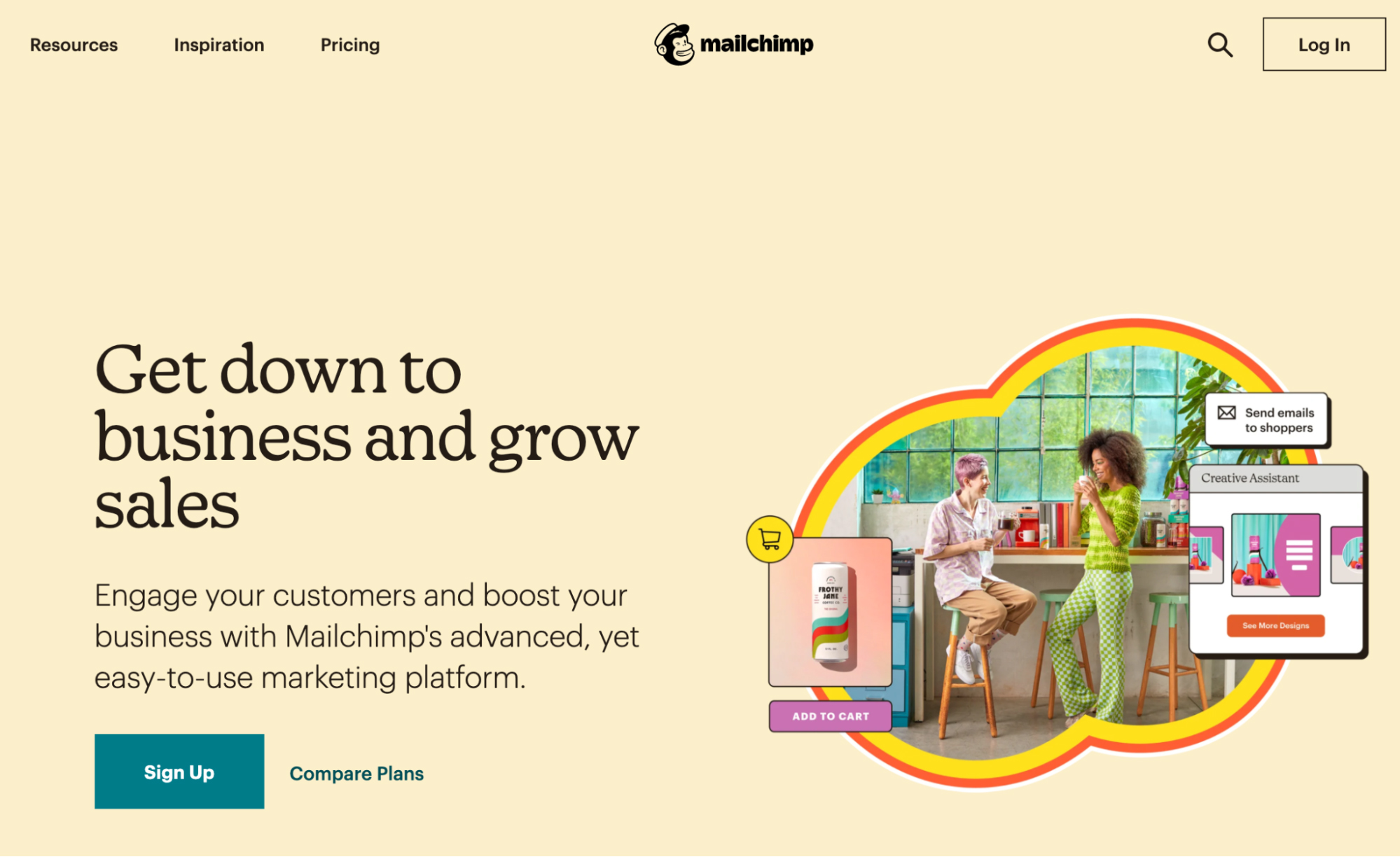 Mailchimp's new homepage outlining the new positioning.