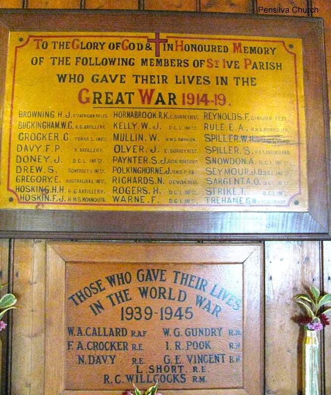 War memorial in Pensilva church