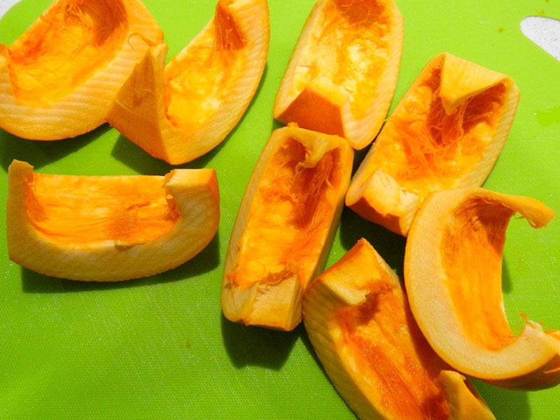 Pumpkin Wedges Before Steaming