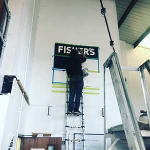 We've got @decreateuk here today beginning the internal improvements to make the place look a lot nicer. Watch this space for more artwork popping up around here. #decreate #handpaintedsigns #signwriting #localbusiness #localartist