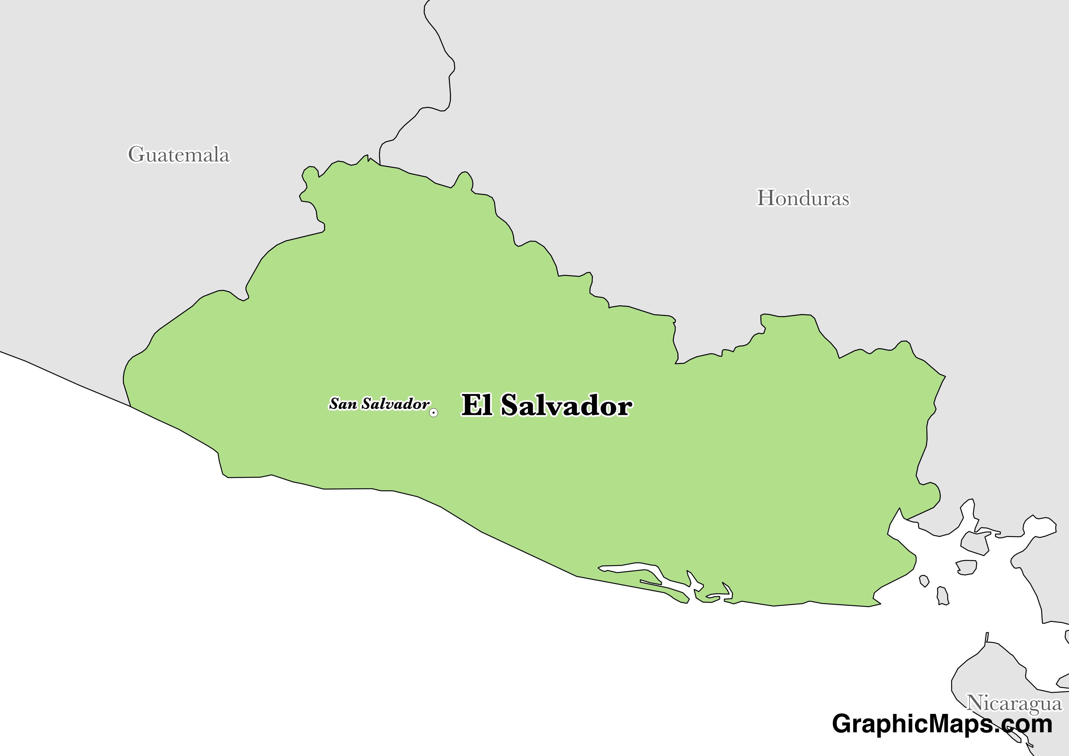 Map showing the location of El Salvador