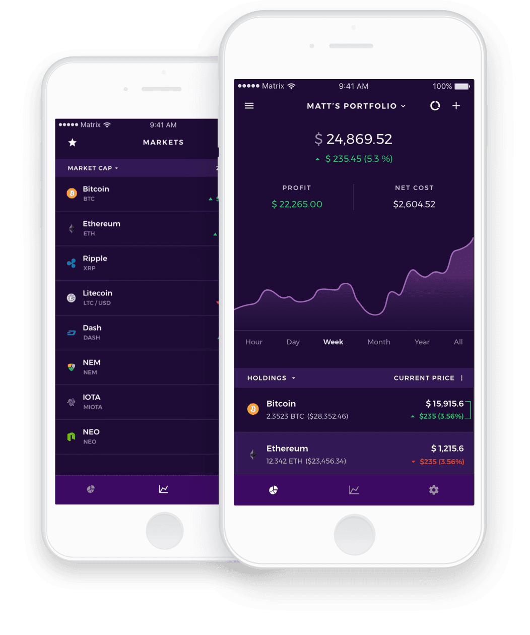Matrix Portfolio - Cryptocurrency, Bitcoin, Ethereum altcoin tracker