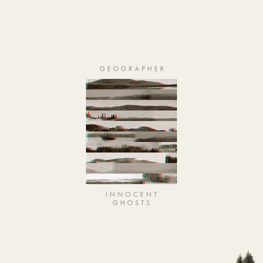 A redo of the Geographer Innocent Ghosts album, with collaged strips of horizon lines forming a rectangle