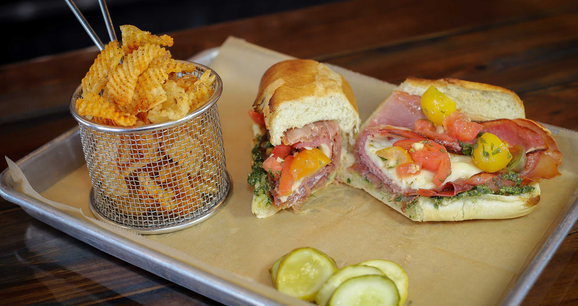 Italian sub with homemade chips and pickels