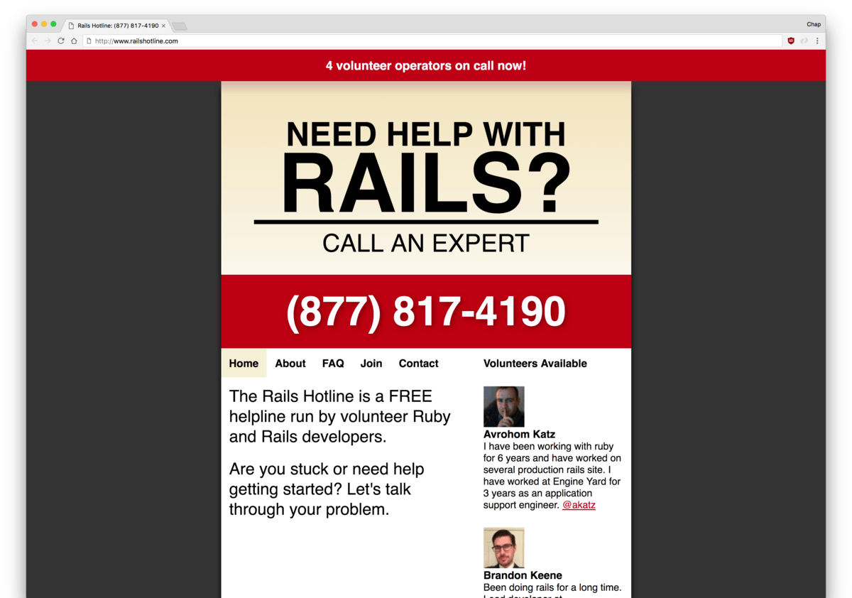 Rails Hotline landing page