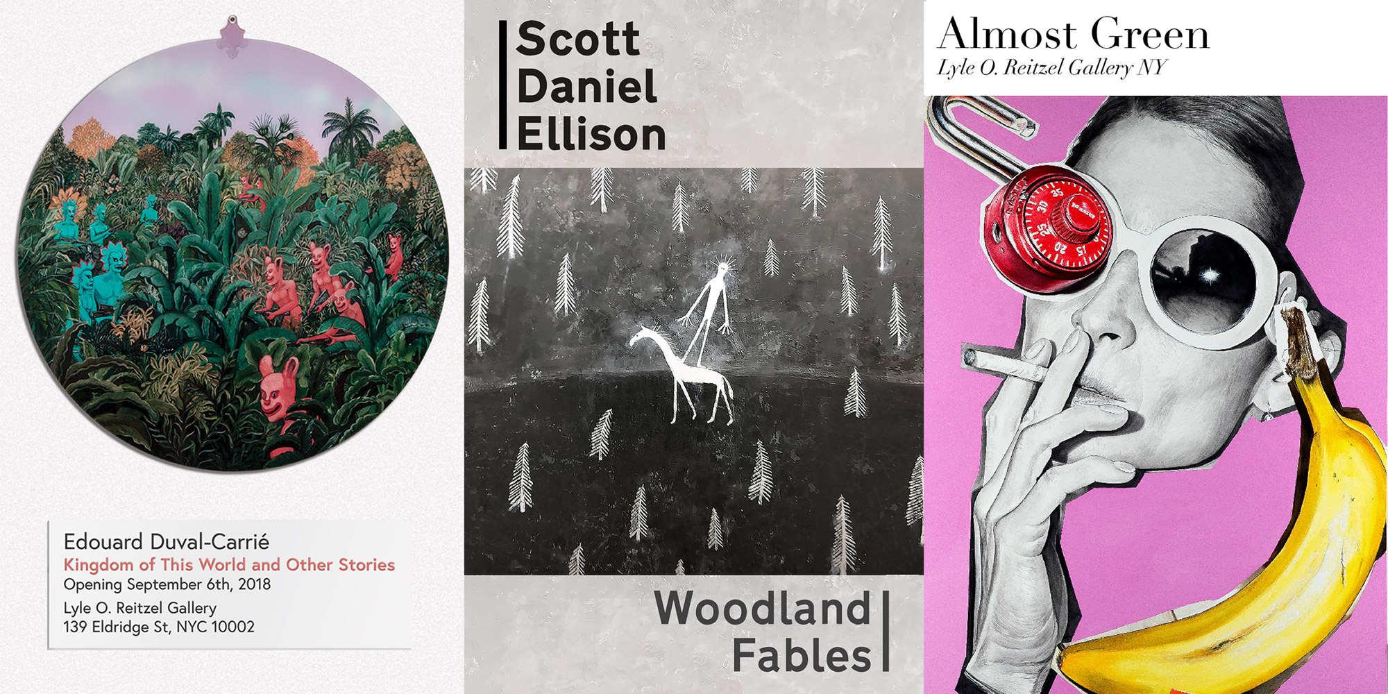 3 flyers for gallery openings