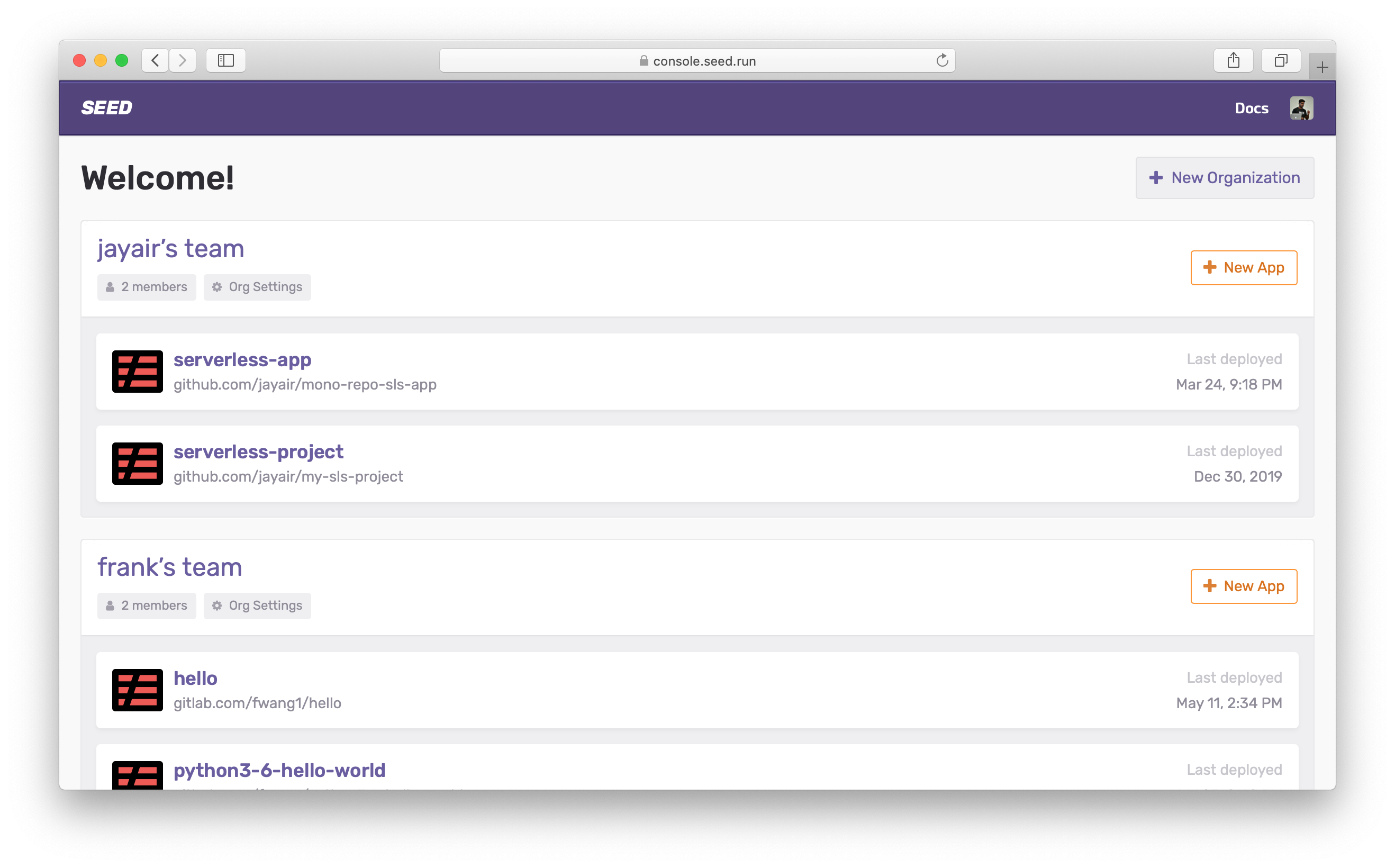 New Seed console homepage
