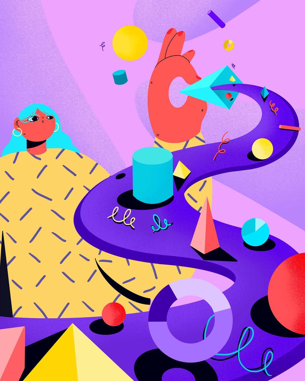 Illustration mit Kreisen, Spiralen, Trichtern, Matrizen und Pyramiden – Formen, die oft herhalten müssen um Inhalte zu visualisieren.