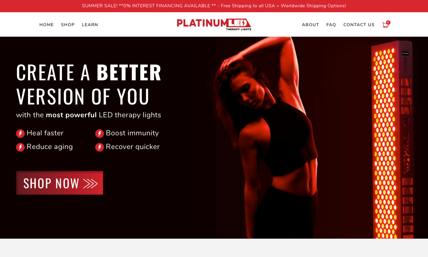 Platinum LED Therapy Lights Homepage Snapshot