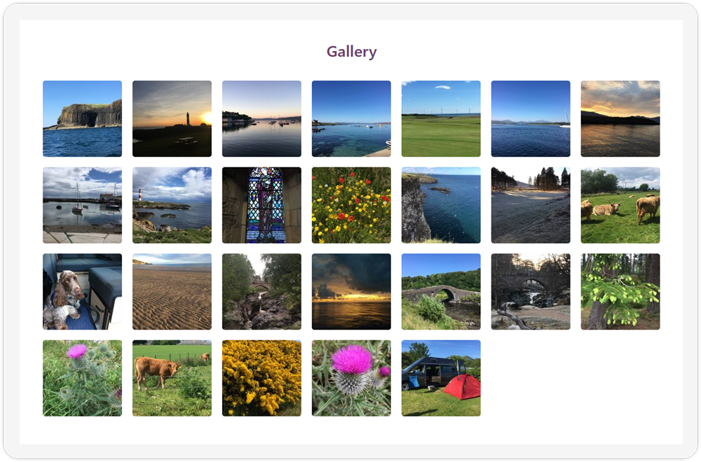 The gallery of the Camperceilidh website showcased on a screen