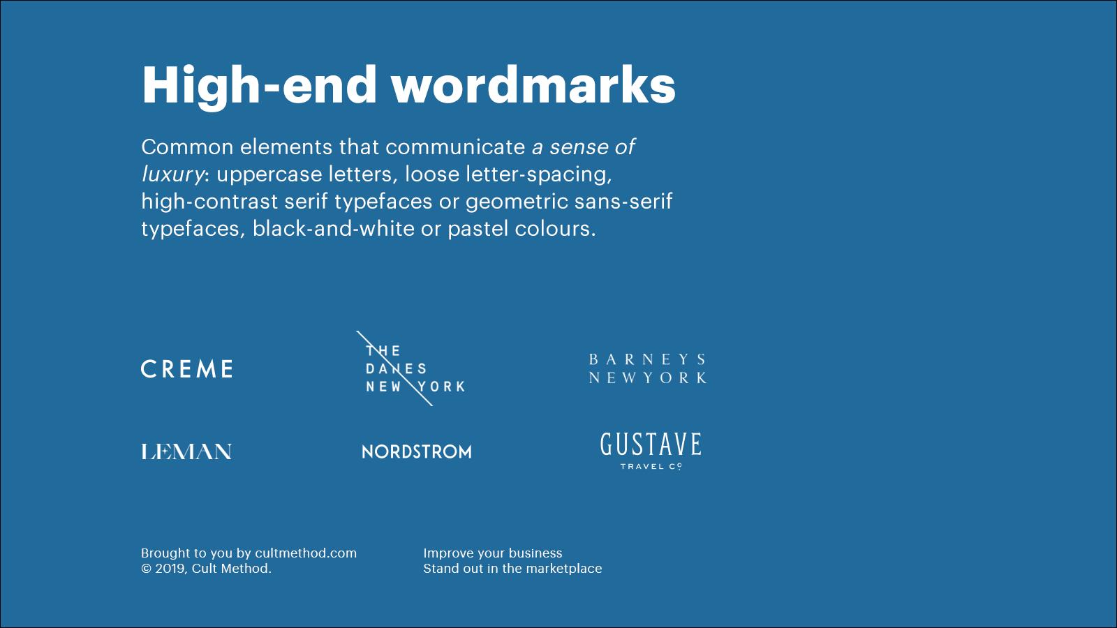 High-end wordmark logos