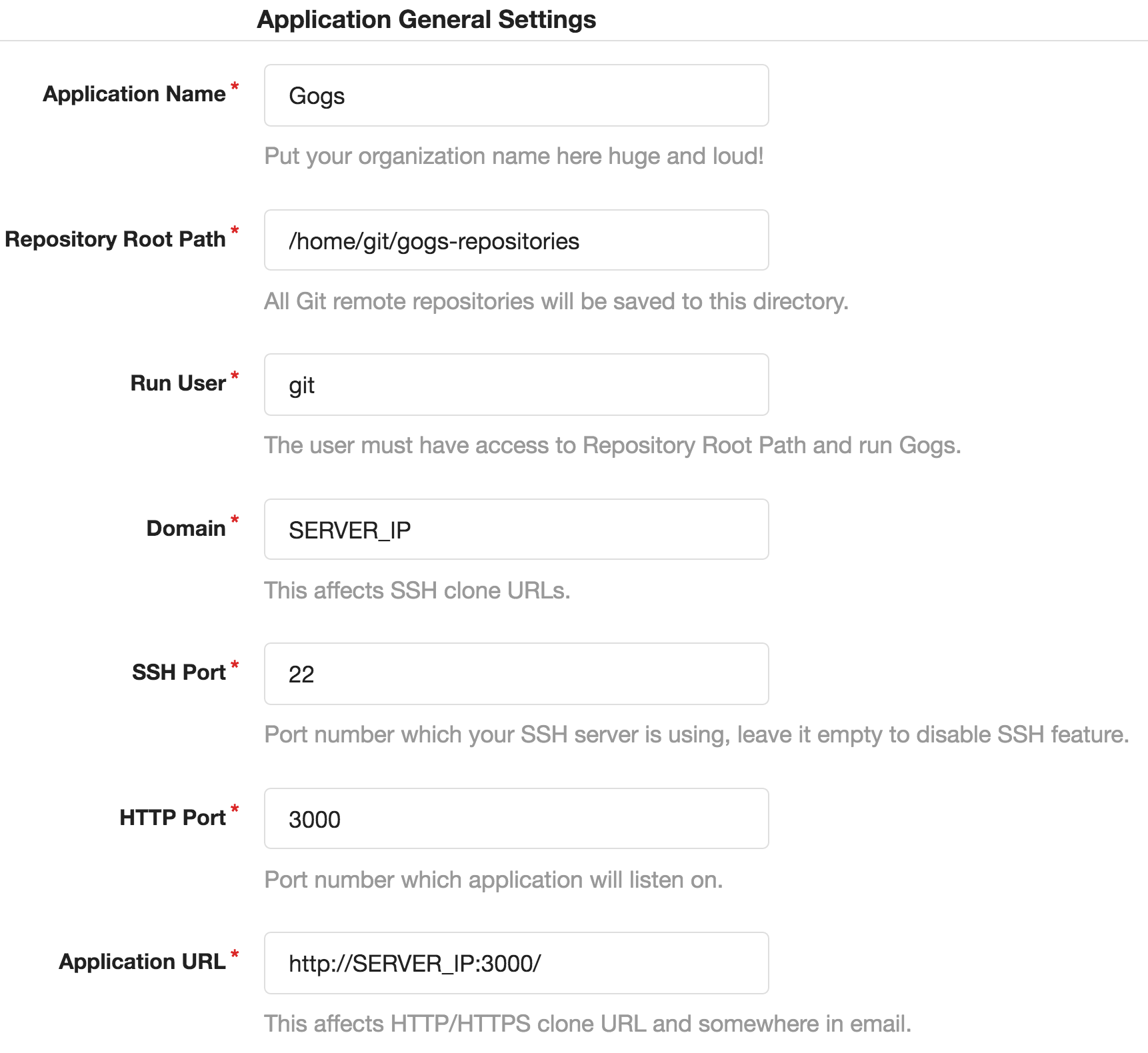 Gogs application settings