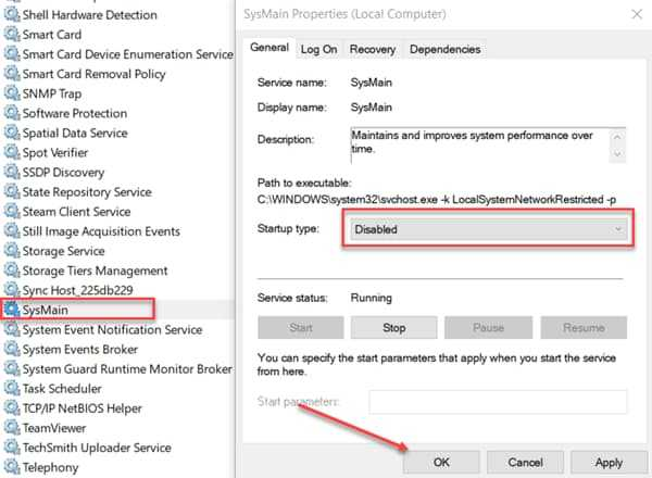 Disable SysMain/SuperFetch in Windows 10