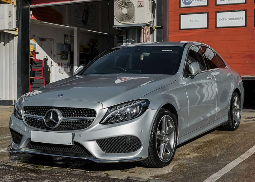 Mercedes C Class car after detailing and vinyl wrap removal