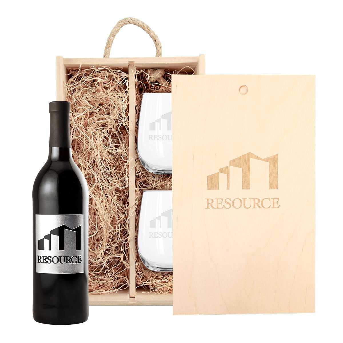 etched red wine bottle gift set for corporate gifts and customer appreciation gifts