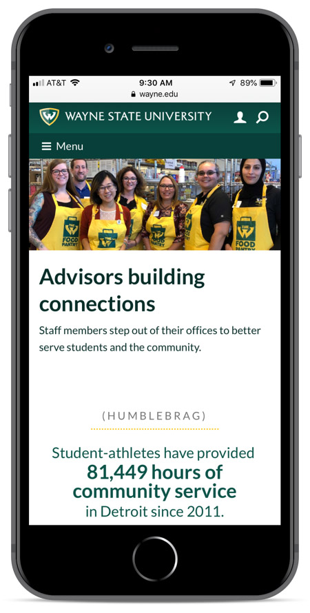Wayne State's homepage as viewed on an iPhone 8