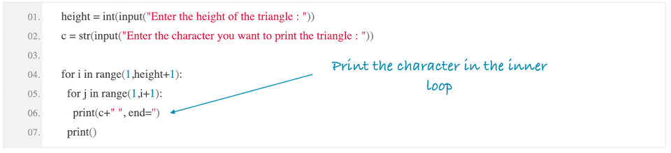python print right angle triangle using star