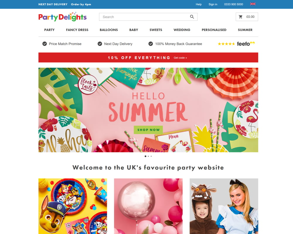 Party Delights website with less distracting colours in the UI.
