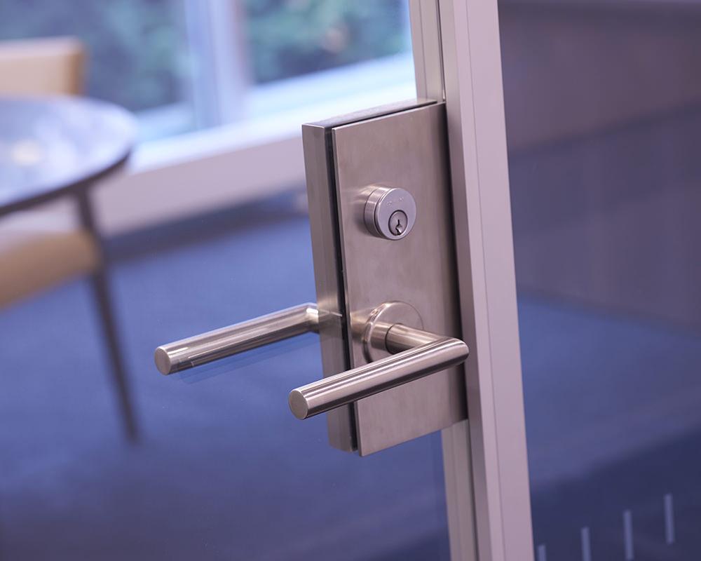 Glass Door with Steel Lever Door Handle and Lock Panel