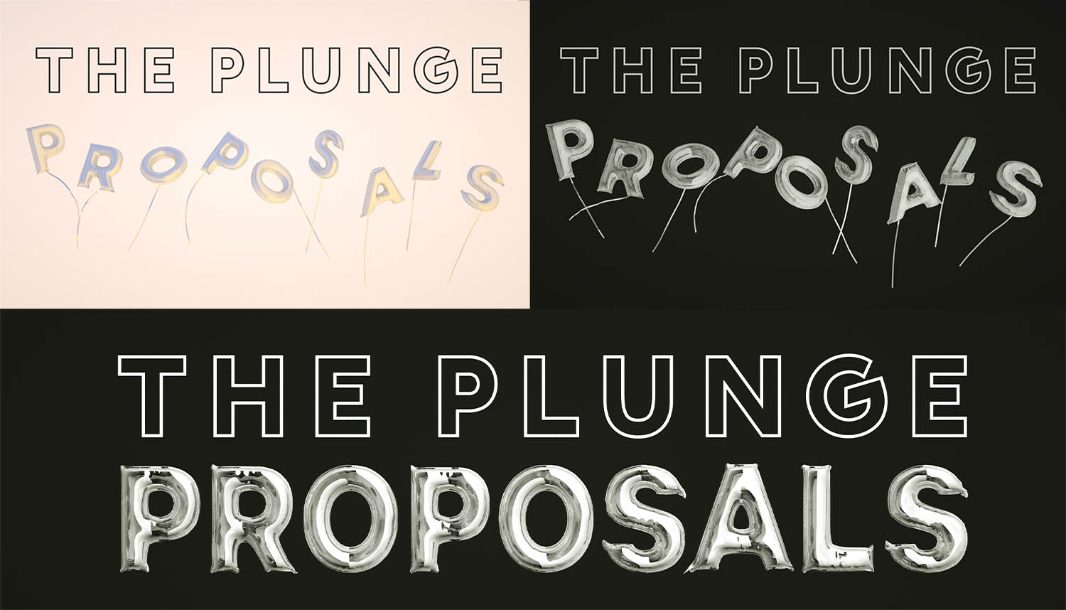 Earlier iterations of the Plunge Proposals logo/banner