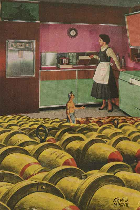 A small man surrounded by bombs looking up at a woman standing in the kitchen. Both look like they are from the 50s