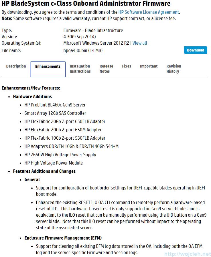 P c7000 Onboard Administrator firmware update 1