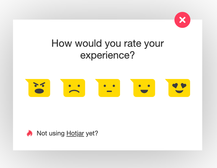 A sample pop-up survey on Hotjar's website.