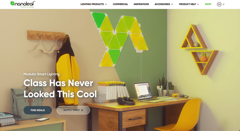 Nanoleaf's Shopify Website Homepage