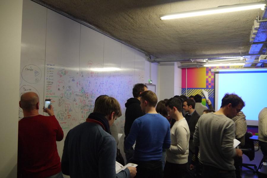 De nombreuses personnes s'activent autour d'un tableau blanc recouvert de mots et de dessins.