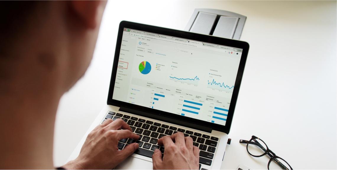 Analyst going through digital metrics