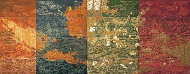 Archipelago, woodblock acrylic on canvas