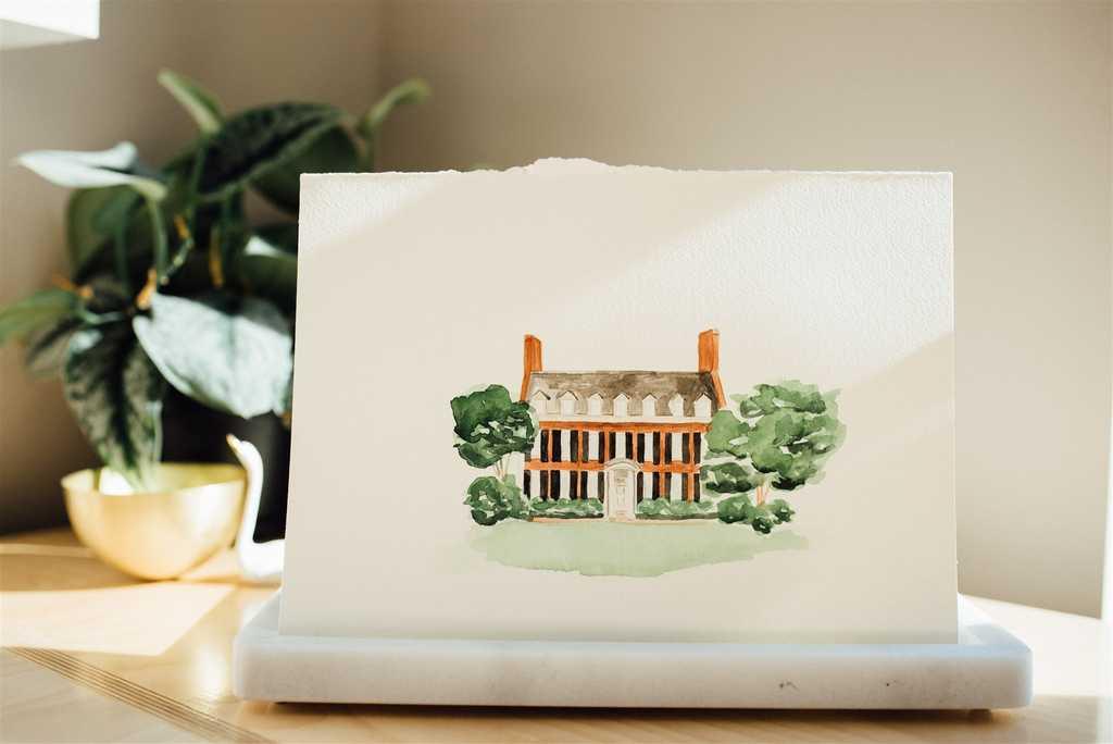 The Carolina Inn watercolor wedding venue illustration