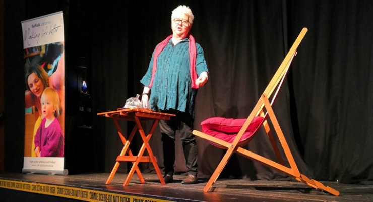 Crime writer Val McDermid speaking at Slaughter in Southwold