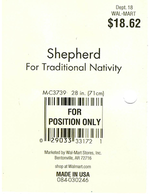 General Foam Plastics Shepherd Walmart Tag #084-030246, M-C3739 preview