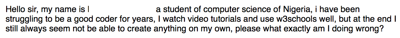 An email from a Nigerian student asking how to create their own web development project.