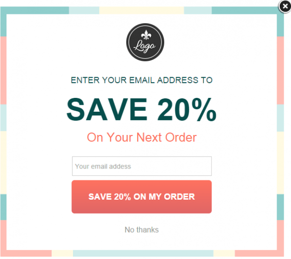 Loga save 20% popup