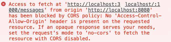 A typical CORS error message.