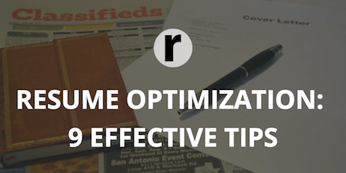 resume optimization 9 simple yet effective tips