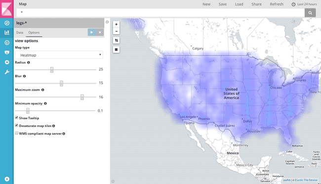 A tile map switched to heatmap mode
