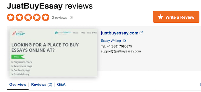 justbuyessay.com has not a lot of reviews on sitejabber