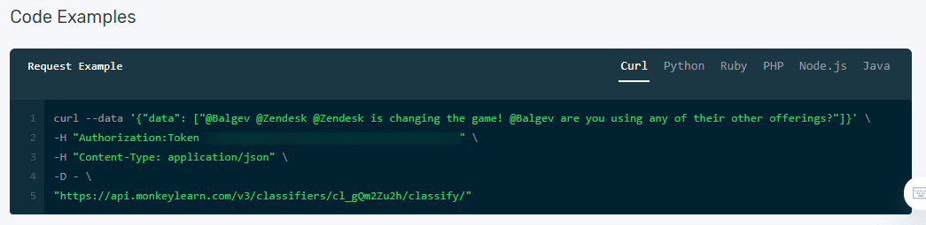 An example of API code.