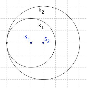 Kružnice k_1 leží ve vnitřní oblasti k_2