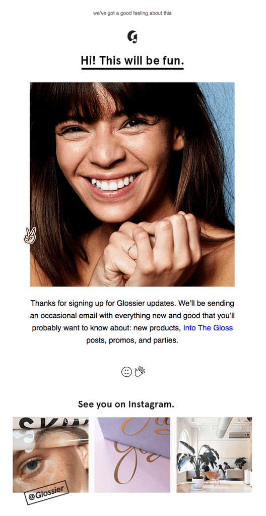 Glossier social email
