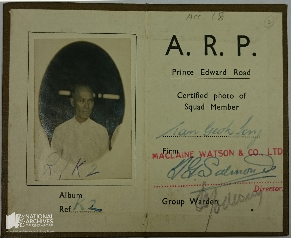Air Raid Precaution identity card belonging to Tan Geok Seng Donated by Victor Tan, National Archives collection 18/2