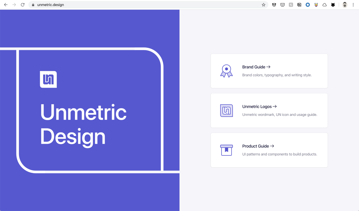 Unmetric.design Homepage